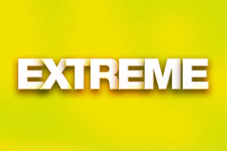 The word Extreme written in white 3D letters on a colorful background concept and theme.