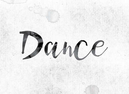 jive: The word Dance concept and theme painted in watercolor ink on a white paper. Stock Photo