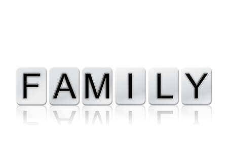 lineage: The word Family written in tile letters isolated on a white background.