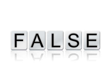 bogus: The word False written in tile letters isolated on a white background.