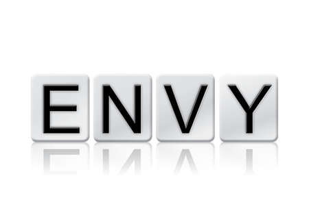 covet: The word Envy written in tile letters isolated on a white background.