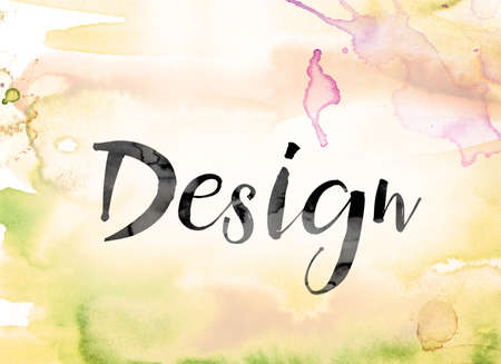 The word Design painted in black ink over a colorful watercolor washed background concept and theme. Stock Photo