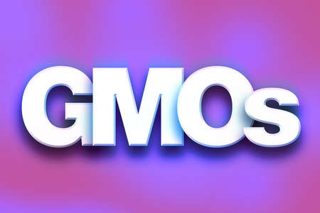 genetically modified organisms: The word GMOs written in white 3D letters on a colorful background concept and theme.