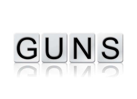 muzzleloader: The word Guns written in tile letters isolated on a white background.
