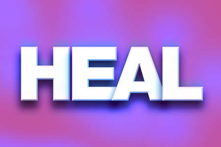 The word Heal written in white 3D letters on a colorful background concept and theme.