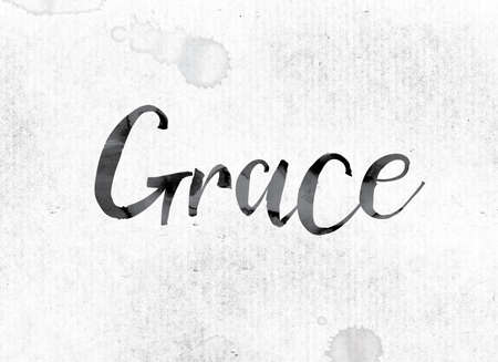 finesse: The word Grace concept and theme painted in watercolor ink on a white paper.