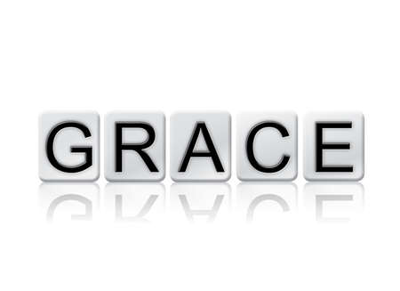 finesse: The word Grace written in tile letters isolated on a white background.