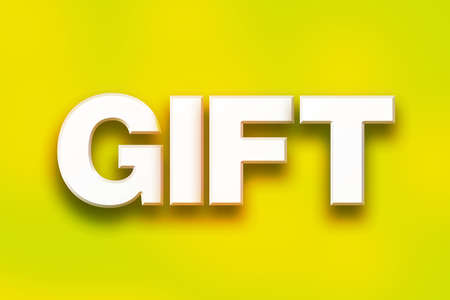 The word Gift written in white 3D letters on a colorful background concept and theme. Stock Photo