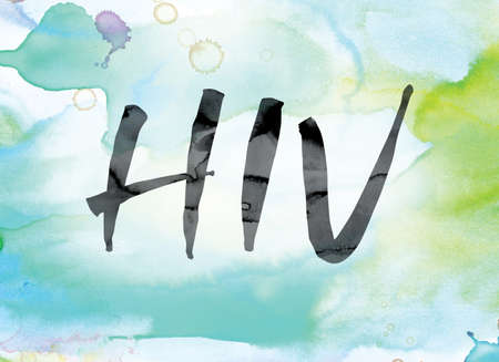 The word HIV painted in black ink over a colorful watercolor washed background concept and theme.