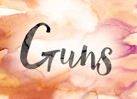 muzzleloader: The word Guns painted in black ink over a colorful watercolor washed background concept and theme. Stock Photo