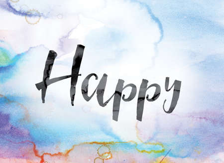 chuckle: The word Happy painted in black ink over a colorful watercolor washed background concept and theme. Stock Photo
