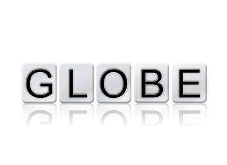 The word Globe written in tile letters isolated on a white background.