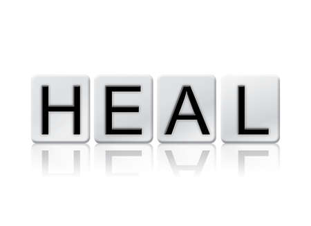 The word Heal written in tile letters isolated on a white background.