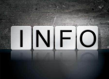 The word Info written in white tiles against a dark vintage grunge background.