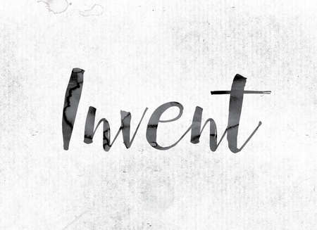 """Het woord """"Invent"""" concept en thema geschilderd in aquarel inkt op een witboek. Stockfoto"""