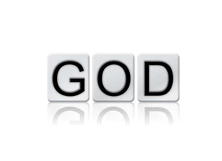afterlife: The word God written in tile letters isolated on a white background. Stock Photo