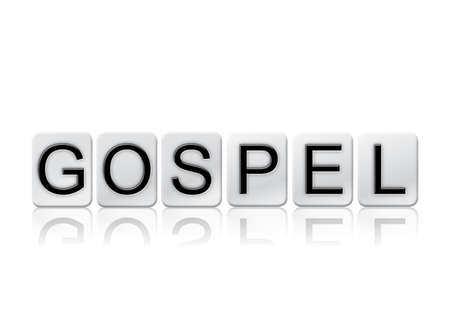 parable: The word Gospel written in tile letters isolated on a white background.