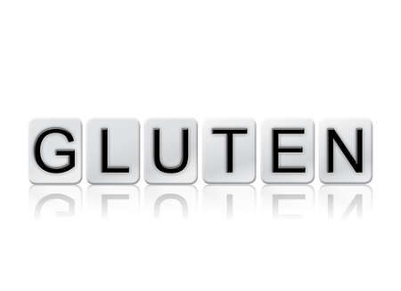 The word Gluten written in tile letters isolated on a white background.