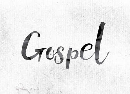 parable: The word Gospel concept and theme painted in watercolor ink on a white paper.