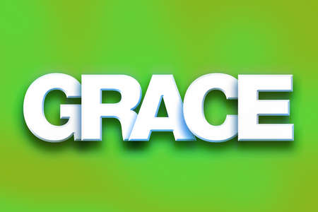 The word Grace written in white 3D letters on a colorful background concept and theme. Stock Photo