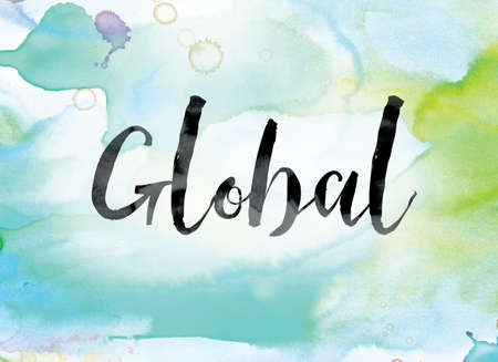 The word Global painted in black ink over a colorful watercolor washed background concept and theme. Stock fotó