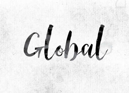 The word Global concept and theme painted in watercolor ink on a white paper. Stock fotó