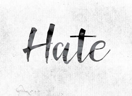 hostility: The word Hate concept and theme painted in watercolor ink on a white paper. Stock Photo