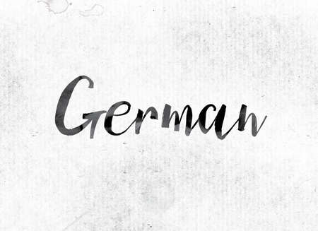 The word German concept and theme painted in watercolor ink on a white paper. Stok Fotoğraf