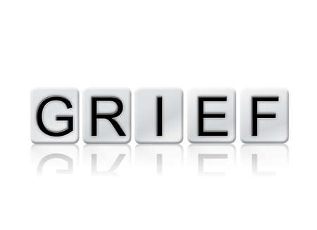 remorse: The word Grief written in tile letters isolated on a white background.
