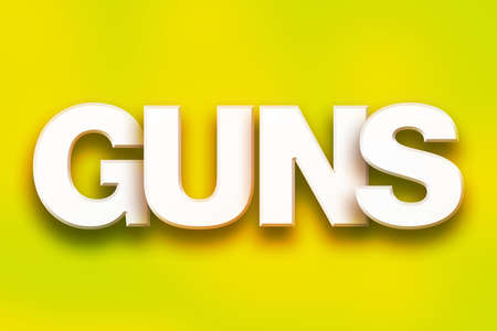 The word Guns written in white 3D letters on a colorful background concept and theme.
