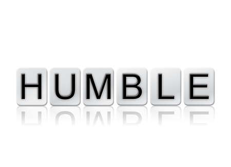 humbled: The word Humble written in tile letters isolated on a white background. Stock Photo