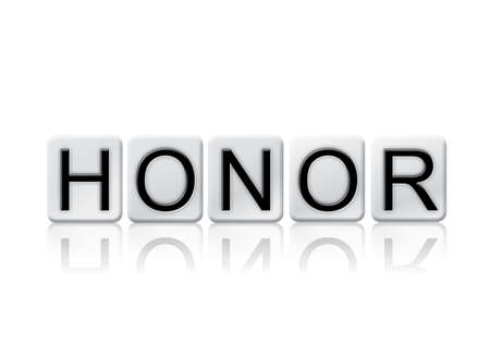 honored: The word Honor written in tile letters isolated on a white background. Stock Photo