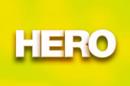 The word Hero written in white 3D letters on a colorful background concept and theme.