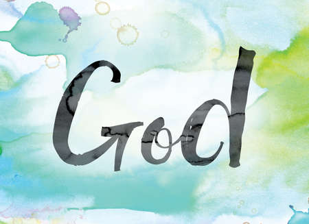 The word God painted in black ink over a colorful watercolor washed background concept and theme.