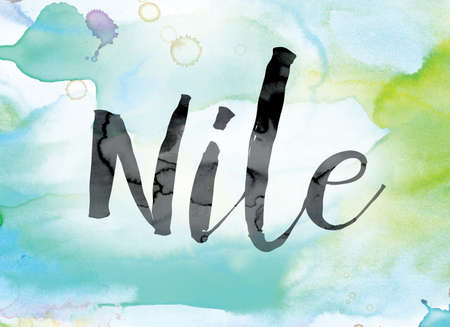The word Nile painted in black ink over a colorful watercolor washed background concept and theme. Stock Photo