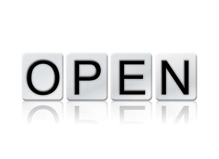 unopen: The word Open written in tile letters isolated on a white background.