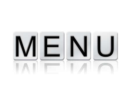 """Het woord """"Menu"""" geschreven in tegelletters geïsoleerd op een witte achtergrond. Stockfoto"""