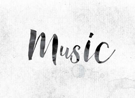chorale: The word Music concept and theme painted in watercolor ink on a white paper. Stock Photo