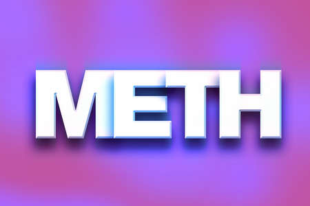 meth: The word Meth written in white 3D letters on a colorful background concept and theme.