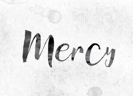 The word Mercy concept and theme painted in watercolor ink on a white paper.