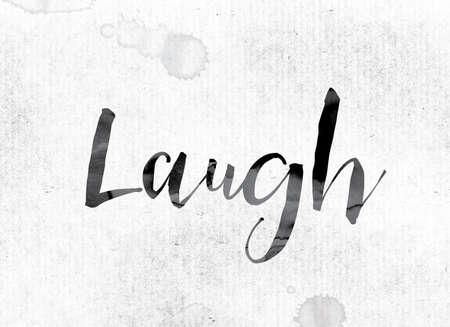 """Het woord """"Lach"""" -concept en thema geschilderd in aquarel inkt op een wit papier. Stockfoto"""