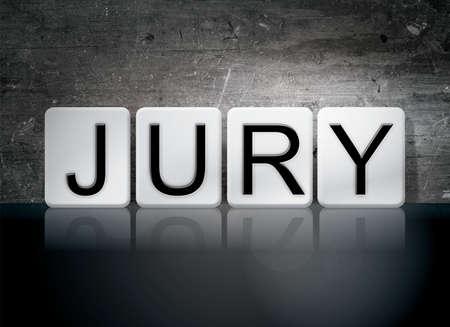 jurado: The word Jury written in white tiles against a dark vintage grunge background. Foto de archivo