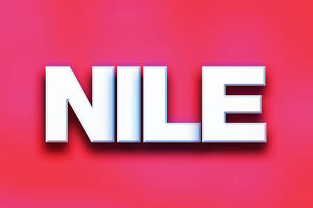 white nile: The word Nile written in white 3D letters on a colorful background concept and theme. Stock Photo