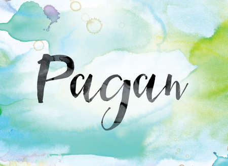 The word Pagan painted in black ink over a colorful watercolor washed background concept and theme. Stock Photo