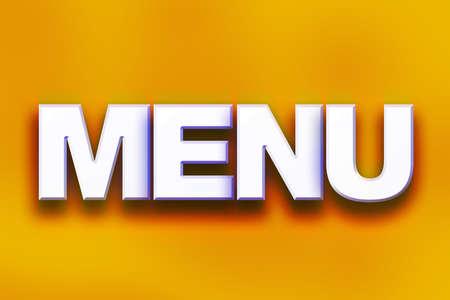 """Het woord """"Menu"""" geschreven in witte 3D-letters op een kleurrijke achtergrond concept en thema."""