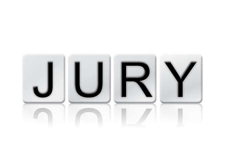 jurors: The word Jury written in tile letters isolated on a white background.