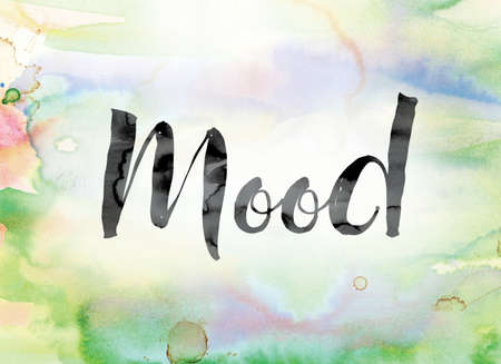 state of mood: The word Mood painted in black ink over a colorful watercolor washed background concept and theme. Stock Photo