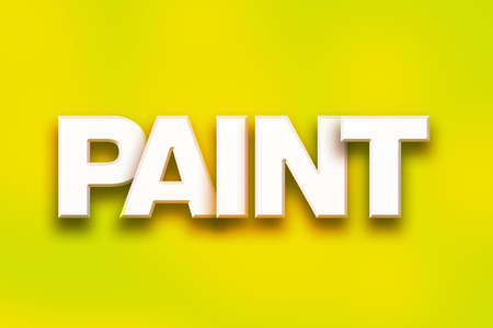 The word Paint written in white 3D letters on a colorful background concept and theme. Stock Photo
