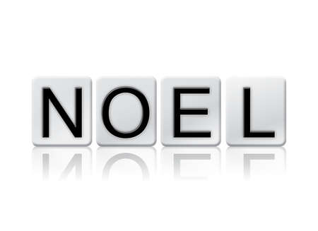 hymn: The word Noel written in tile letters isolated on a white background.