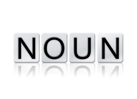 verb: The word Noun written in tile letters isolated on a white background.
